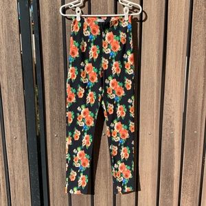 Stretchy High-Waisted Floral Print Pants w Zipper